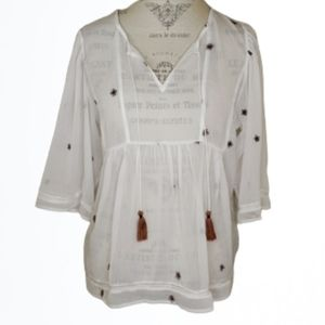Lucky Brand Sheer Embroidered Peasant Blouse